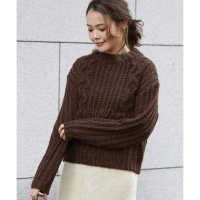 【グレディブリリアン】手編み風フリンジニット