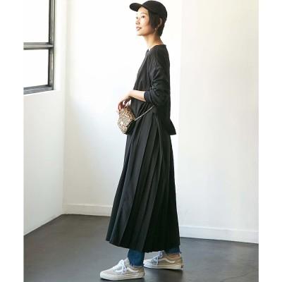 ジーラ GeeRA 【WEB限定】バックプリーツデザインワンピース (ブラック)