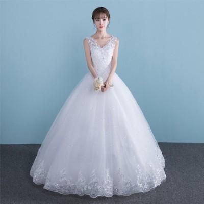 ロング丈 編み上げタイプ オシャレ イブニングドレス 白 ウエディングドレス 格安 レースワンピース フォーマルドレス ウェディングドレス