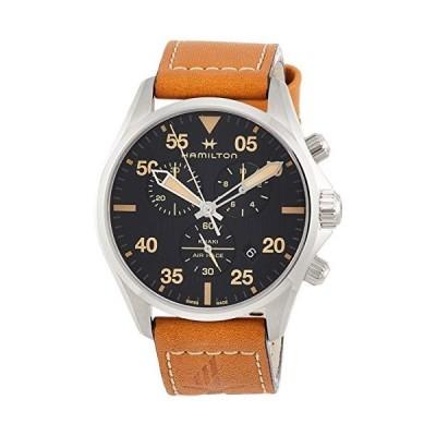 ハミルトン Hamilton Khaki Pilot Chronograph Black Dial Brown Leather Men's Watch H76722531 並行輸入品