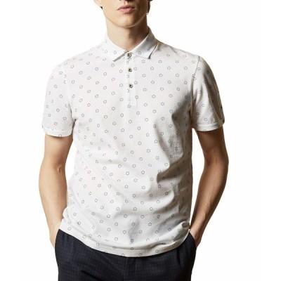テッドベーカー シャツ トップス メンズ Mixing Short Sleeve Textured Polo with Geo Print White