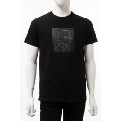 カールラガーフェルド KARL LAGERFELD Tシャツ 半袖 丸首 クルーネック ブラック メンズ (755039 502224) 2020AW_SALE