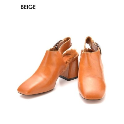 靴 レディース パンプス ボア付きサボサンダルデートスタイル 厚底 ヒール サンダル シューズ