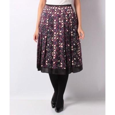 LAPINE BLANCHE / ラピーヌ ブランシュ 幾何柄パネルプリント スカート