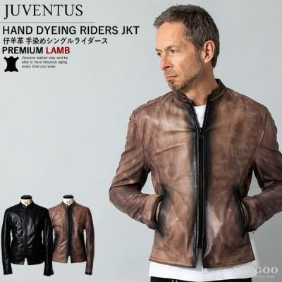 JUVENTUS 本革 手染めシングルライダースジャケット メンズ ユベントス KR001  レザージャケット/ブルゾン/アウター