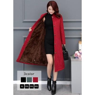 コート キルティングコート ロング丈 ロングコート 立ち襟 裏起毛 裏ボア 刺繍 無地 中綿コート