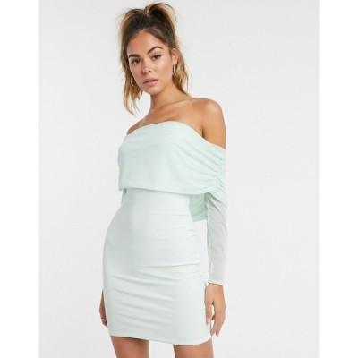 クラブエルロンドン レディース ワンピース トップス Club L ruched mesh bardot bodycon mini dress in mint Mint
