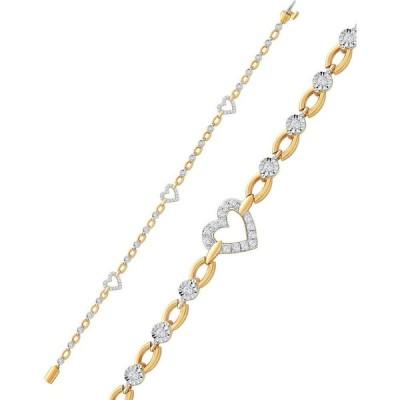 メイシーズ Macy's ユニセックス ブレスレット ハート Diamond Heart Open Link Bracelet (1/2 ct. t.w.) in Sterling Silver & 14k Gold-Plate