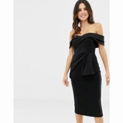 エイソス ワンピース Bardot Fold Wrap Front Midi Pencil Dress Black