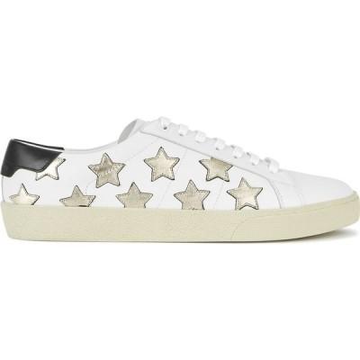 イヴ サンローラン Saint Laurent レディース スニーカー シューズ・靴 Court Star-Appliqued Leather Sneakers White