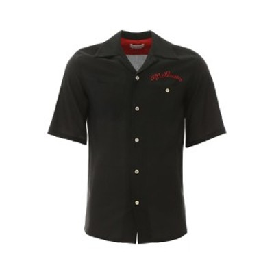 ALEXANDER MCQUEEN/アレキサンダー マックイーン Black Alexander mcqueen shirt with logo embroidery メンズ 春夏2020 606580 QOR12 ik