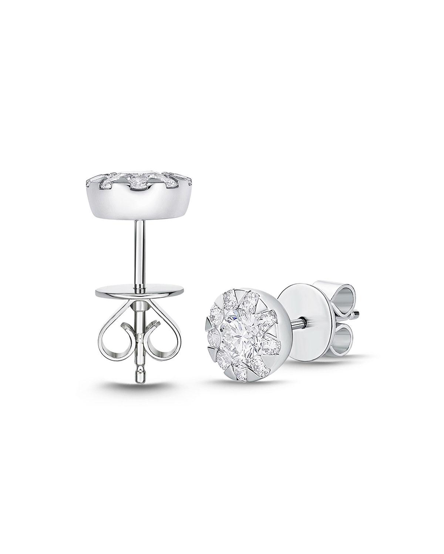18k White Gold Diamond Bouquet Stud Earrings, 1.34tcw