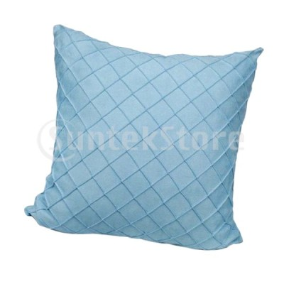 柔らかいベルベットの汚れた装飾的な四角い枕は、ライトブルー-45x45cmをカバーしています