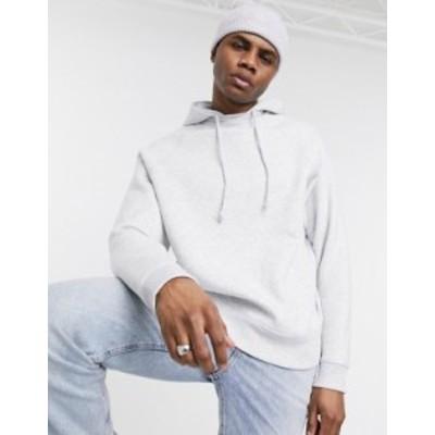 エイソス メンズ パーカー・スウェット アウター ASOS DESIGN oversized raglan hoodie with cross over neck in white heather White ma