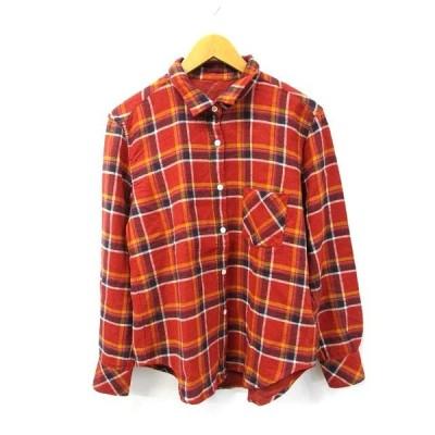 【中古】ヤヌーク YANUK コットン ウール 混 チェック ネルシャツ S レッド メンズ 【ベクトル 古着】