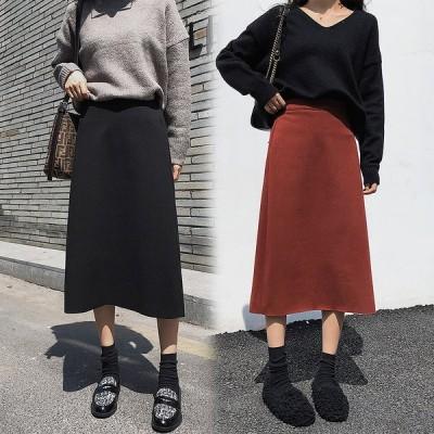 全2色 膝丈スカート ミディアム丈 スリット 大きいサイズ 無地 カジュアル