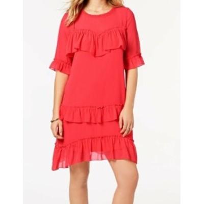 kensie ケンジー ファッション ドレス Kensie NEW Red Ruffled Chiffon Womens Size Medium M Shift Dress