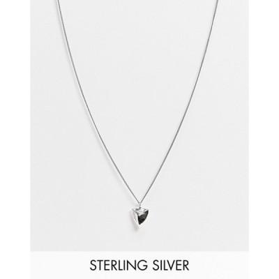 エイソス メンズ ネックレス・チョーカー アクセサリー ASOS DESIGN sterling silver skinny neckchain with tooth pendant in burnished silver