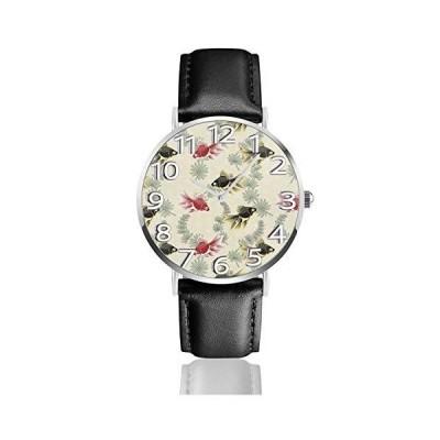腕時計 ブラックレッド魚 ウオッチ クラシック カジュアル 防水 クォーツムーブメント レザー ベルトビジネス