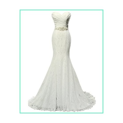 SOLOVEDRESS Women's Lace Wedding Dress Mermaid Evening Dress Bridal Gown with Sash (US 16 Plus, Ivory)並行輸入品