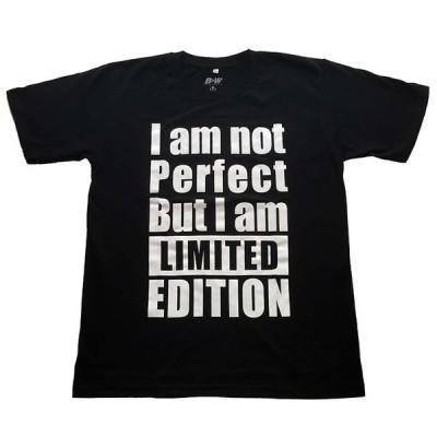 I AM NOT PERFECT BUT I AM LIMITED EDITIODN パロディー プリントTシャツ ブラック 男女兼用