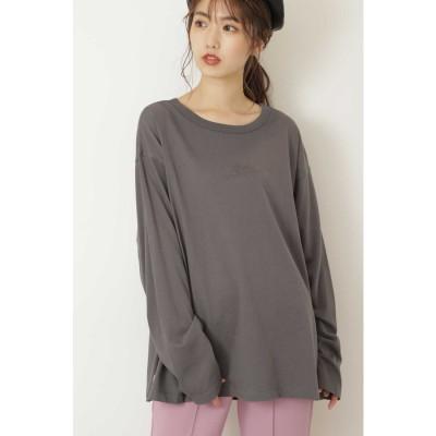 ◆エンボスロゴバックフォトプリントTシャツ スミクロ