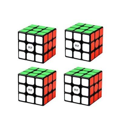 4 Pack 3X3X3 Speed Cube 4PC Magic Cube Puzzle Bundle Black