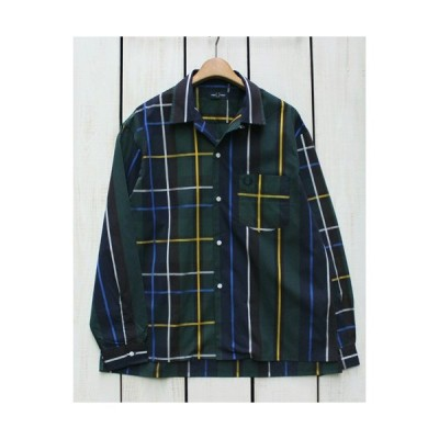 Fred Perry フレッドペリー ストライプ ーリングシャツ ネイビー グリーン Stripe Bowling Shirt Navy 01 長袖 ストライプ 切替 ワイド シルエット 開襟