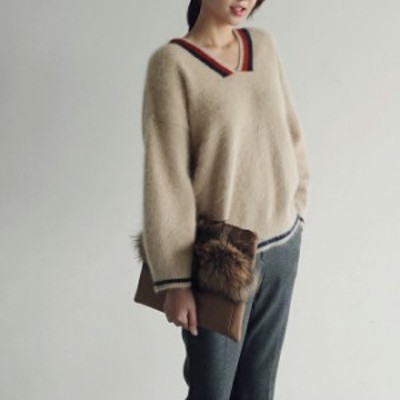 オーバーサイズシャギーニットセーター ニットトップス ゆったりセーター ゆるニット 長袖 レディース 韓国 オルチャン ファッション 秋