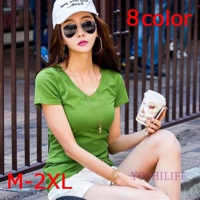レディース ファッション Tシャツ 半袖 無地 Vネック フィット シンプル カジュアル カラー豊富 緑 白 黒 オレンジ 黄色 朱色 ローズレッド