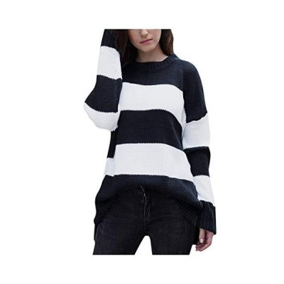 POQOQ Women's Striped Printed Long Sleeve Patchwork Tops Pullover Sweater(B