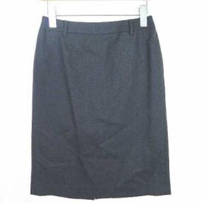 【中古】PROPORTION BODY DRESSING タイトスカート 膝下 ストレッチ ウール アンゴラ 2 ダークグレー sa8743