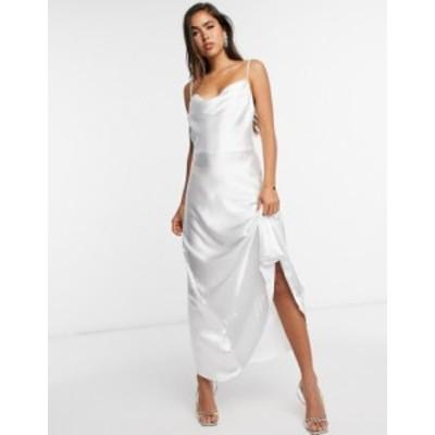 エイソス レディース ワンピース トップス ASOS DESIGN satin maxi dress with strap back detail White