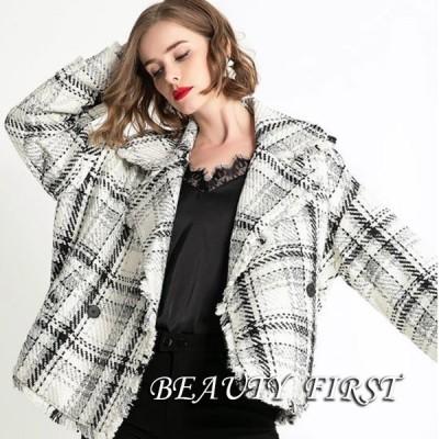 白黒格子柄コート ジャケット フリンジ テーラード レディース 上着 羽織 秋冬 カジュアル デイリー ショート丈