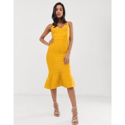 エイソス ASOS DESIGN レディース ワンピース ワンピース・ドレス Tape detail bandage asymmetric hem midi dress Mustard