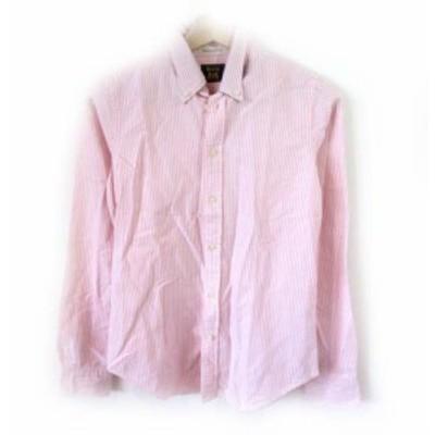 【中古】ラルフローレン ラグビー RALPH LAUREN RUGBY BDシャツ 長袖 ストライプ ピンク ホワイト 0 約S NVW メンズ
