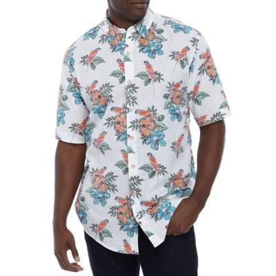 アイゾッド メンズ シャツ トップス Big & Tall Chambray Tropical Parrot Shirt