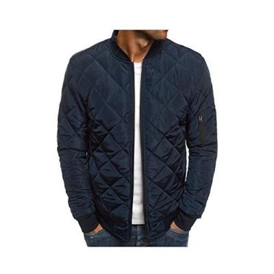 SUNKAKUメンズ キルティング ジャケット MAー1 中綿ダウン ジャンパー ブルゾン コート 軽量 防寒 アウター (ネイビー XL)