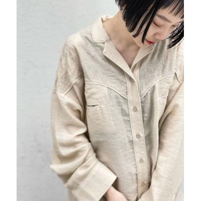 刺繍パイピングウエスタンシャツ