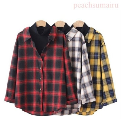 長袖シャツ チェック柄 レディース シャツ 偽二枚 ゆったり ブラウス 女性 カジュアルシャツ フェイクレイヤード 長袖ブラウス お洒落