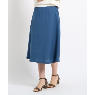SunaUna(スーナウーナ) 【洗える】フェイクボタンフレアスカート