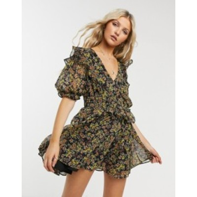 トップショップ レディース ワンピース トップス Topshop shirred waist mini dress in multi Multi