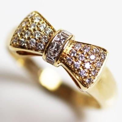【MR2741】★ K18 イエローゴールド ダイヤモンドリング リボン レディース指輪D0.30 3.7g サイズ12号【中古】【美品】【質屋出品】