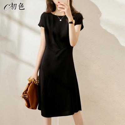 初色  法式設計感拼接洋裝-黑色-(M-2XL可選)