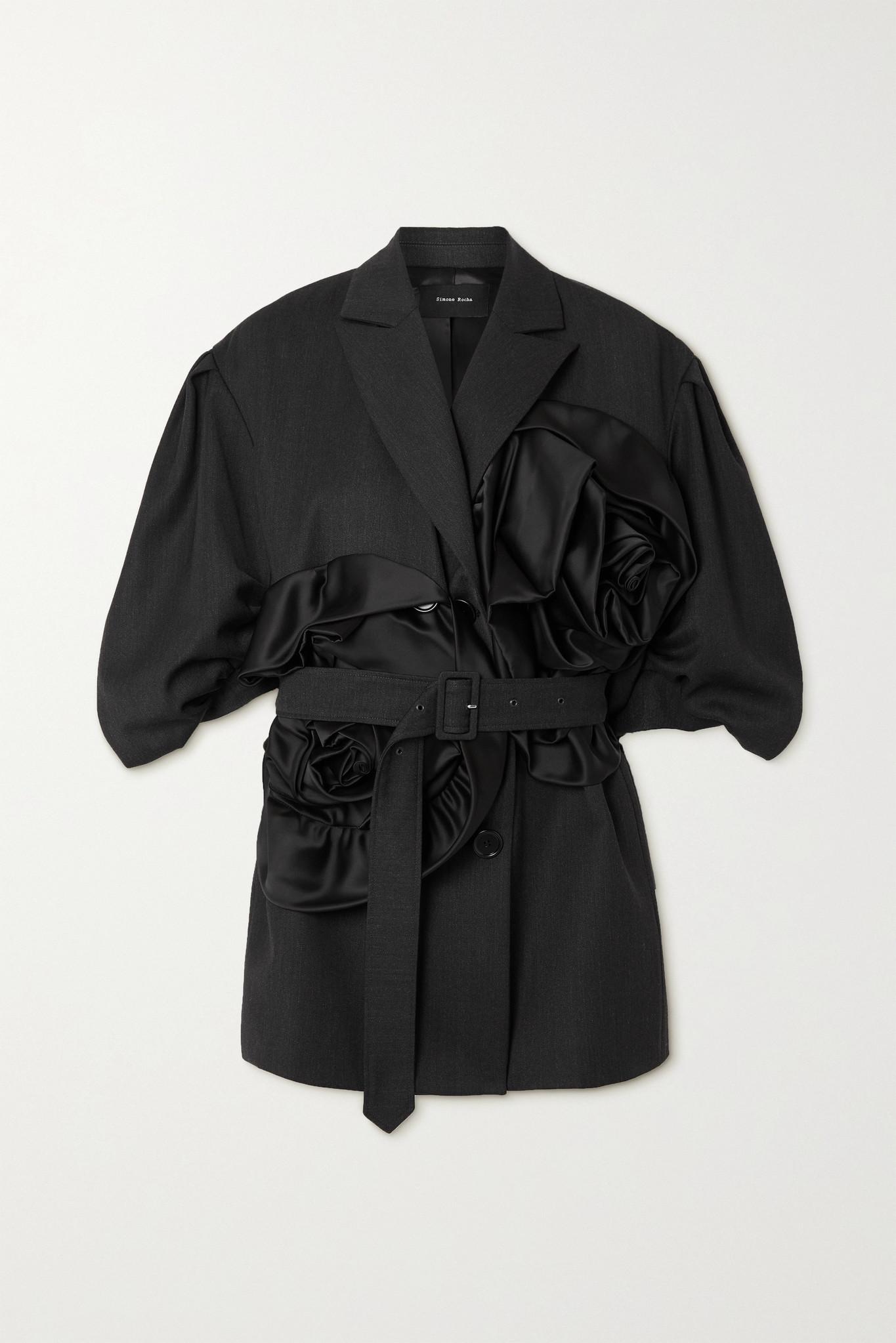 Simone Rocha - Belted Satin-trimmed Woven Jacket - Gray - UK6