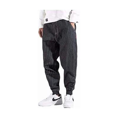 YIMANIE デニムパンツ サルエルパンツ メンズ ワイドパンツ 大きいサイズ テーパード 長ズボン オールシーズン (ブラック 30)
