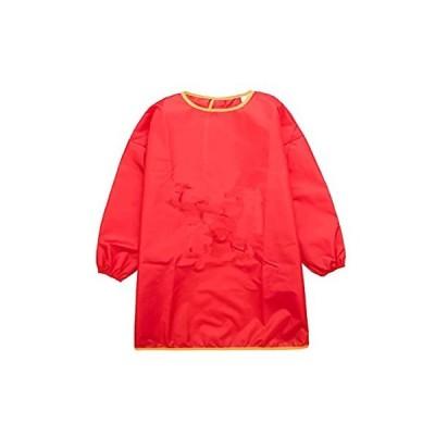 子供対応 長い袖 エプロン 絵画用 陶芸用 作業服 通気性 防水 着用 便利 全3サイズ6色選ぶ - 赤, M