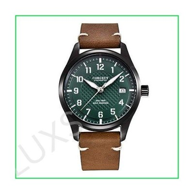 Corgeut 40mmFashion Casual Mechanical Male Clock Automatic Mens Wrist Watch (Black-Green) 並行輸入品