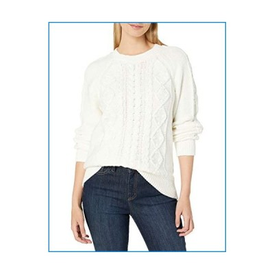 Lucky Brand Women's Cable Knit Scoop Neck Sweater, Snow White, Small【並行輸入品】
