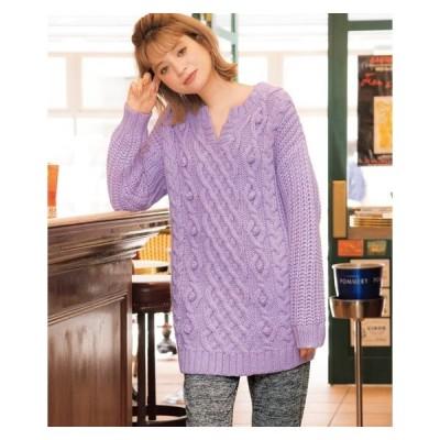 セーター ニット 大きいサイズ レディース キーネック ボリューム 冬  L/LL/3L ニッセン nissen